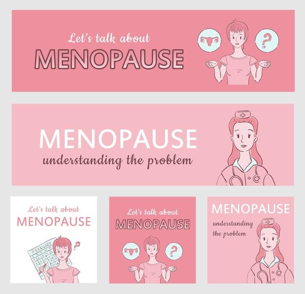 Kolekcja banerów menopauzy dla witryny internetowej medycznej lub ginekologicznej i mediów społecznościowych