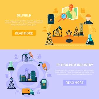 Kolekcja banerów na polu naftowym