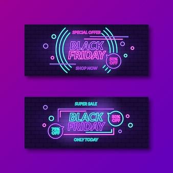 Kolekcja banerów neonowych czarny piątek