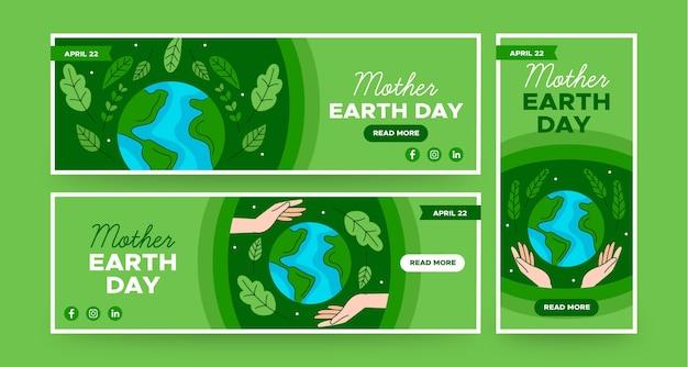 Kolekcja banerów płaski dzień matki ziemi