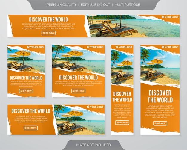 Kolekcja banerów podróży
