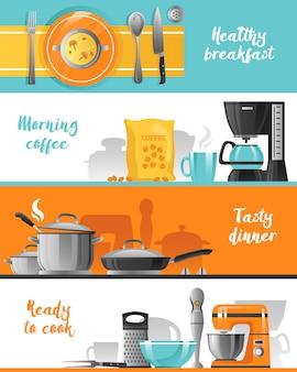 Kolekcja banerów poziome naczynia kuchenne