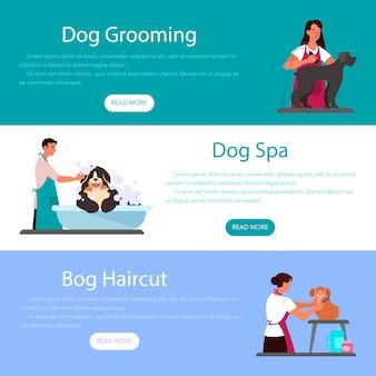 Kolekcja banerów reklamowych lub nagłówków dotyczących profesjonalnej pielęgnacji psów