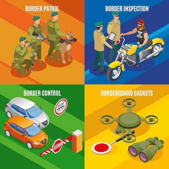 Kolekcja banerów służb granicznych