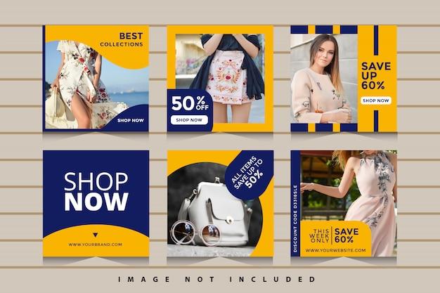 Kolekcja banerów społecznościowych sprzedaży mody