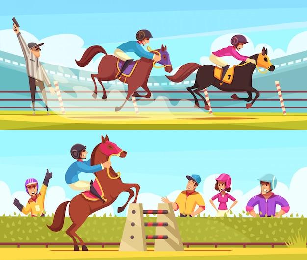 Kolekcja banerów sportowych jeździeckich z wyścigami konnymi