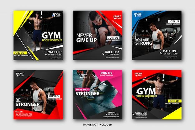 Kolekcja banerów sportowych w mediach społecznościowych