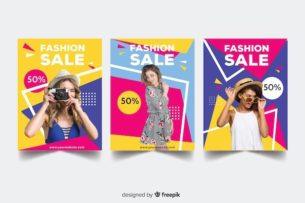Kolekcja banerów sprzedaż mody