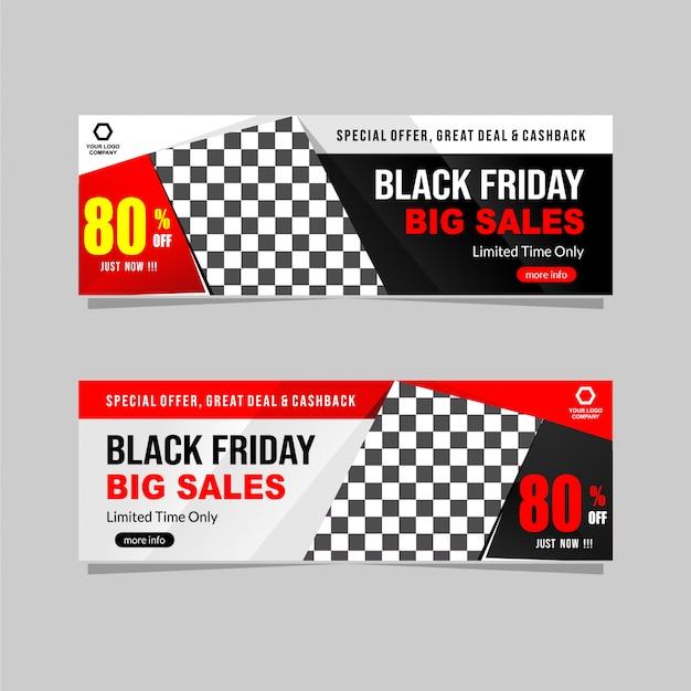 Kolekcja banerów sprzedażowych czarny piątek