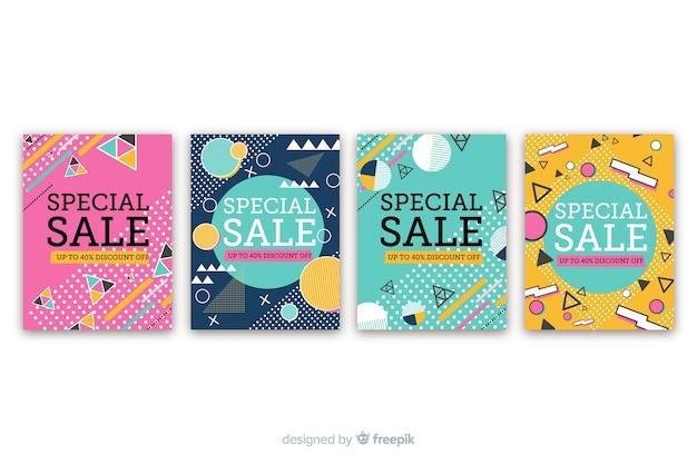 Kolekcja banerów sprzedażowych memphis