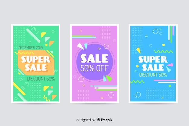 Kolekcja banerów sprzedażowych w stylu memphis