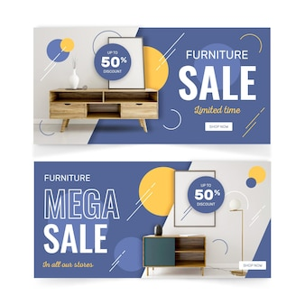 Kolekcja banerów sprzedaży mebli ze zdjęciem