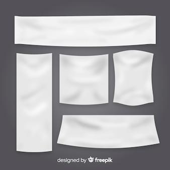 Kolekcja banerów tekstylnych w realistycznym stylu