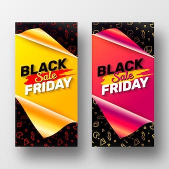 Kolekcja banerów w czarny piątek z otwartym papierem do pakowania prezentów
