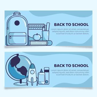 Kolekcja banerów z powrotem do szkoły