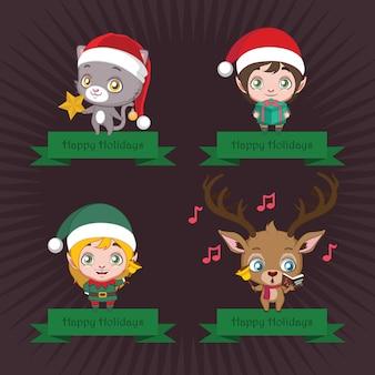 Kolekcja banerów z uroczych postaci świątecznych