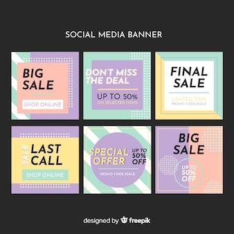Kolekcja baneru sprzedaży mediów społecznościowych