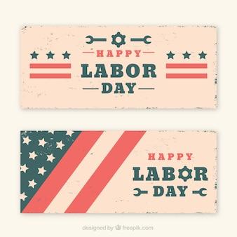 Kolekcja banery dzień pracy w stylu vintage