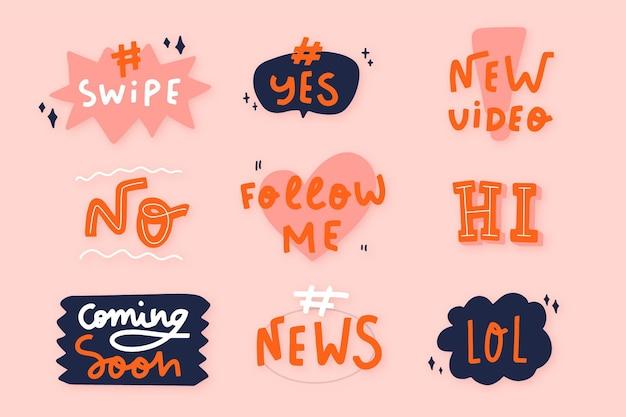 Kolekcja baniek slangowych mediów społecznościowych