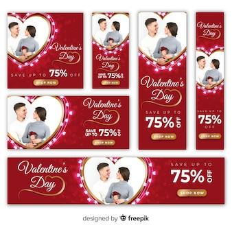 Kolekcja bannerów internetowych Walentynki