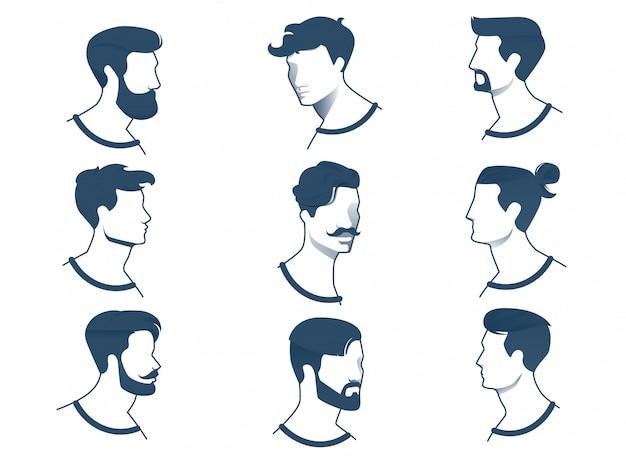 Kolekcja bannerów męskie fryzury w różnym wieku.