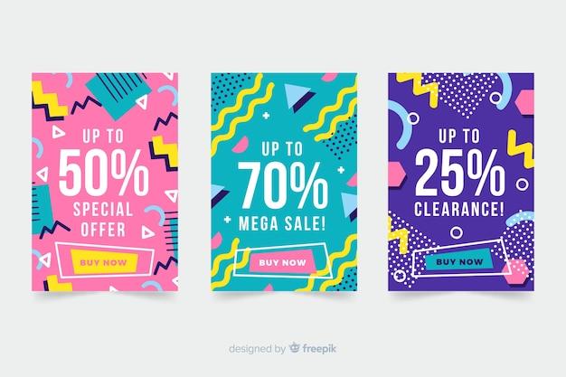 Kolekcja bannerów sprzedażowych w stylu memphis