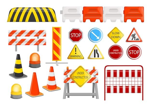 Kolekcja barier drogowych