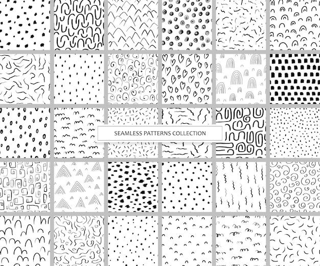 Kolekcja bez szwu wzorów z różnymi abstrakcyjnymi kształtami. tła z tuszem i markerem w stylu wyciągnąć rękę. ilustracje z kropkami, liniami, paskami i kreskami w stylu skandynawskim. wektor