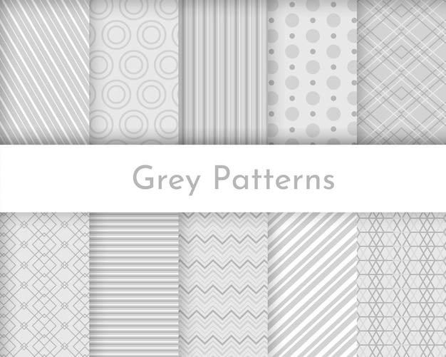 Kolekcja bezszwowych tekstur w paski - jasnoszary design. wzory geometryczne.