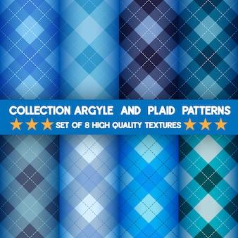 Kolekcja bezszwowych wzorów argyle i kratki w niebieskim tle.