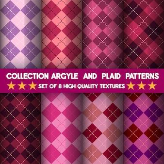 Kolekcja bezszwowych wzorów w kratkę i argyle.