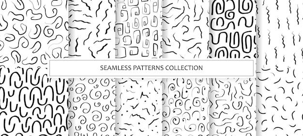 Kolekcja bezszwowych wzorów z abstrakcyjnymi kształtami, liniami, paskami, spiralą i obrysami. atrament tła, marker w stylu wyciągnąć rękę. ilustracja z naturalnymi teksturami w stylu skandynawskim. wektor