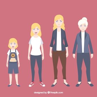 Kolekcja białych kobiet w różnym wieku