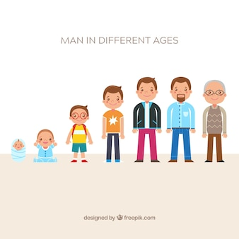 Kolekcja białych mężczyzn w różnym wieku