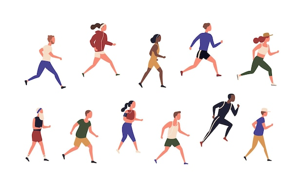 Kolekcja biegających ludzi na białym tle. pakiet młodych i starszych mężczyzn i kobiet biegających