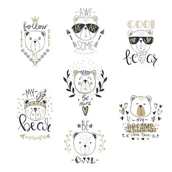 Kolekcja big vector z uroczymi niedźwiedziami mody. stylowy miś