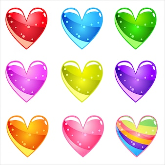 Kolekcja błyszczące serca kreskówek z galaretką w różnych kolorach.