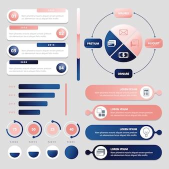 Kolekcja błyszczący infographic 3d