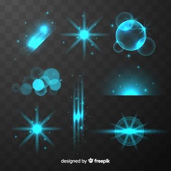 Kolekcja błyszczących niebieskich efektów świetlnych