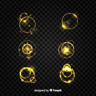 Kolekcja błyszczących złotych efektów świetlnych