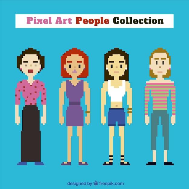 Kolekcja bohaterek sztuki w stylu pixel