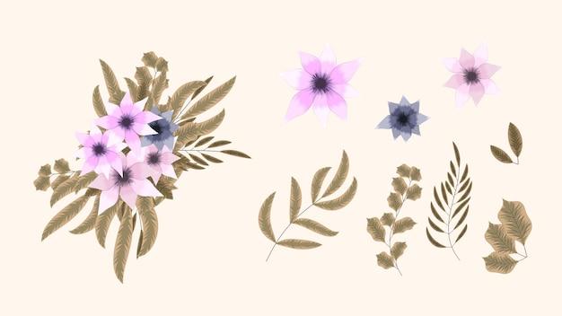 Kolekcja botaniczna dzikich elementów kwiatowych z bukietem kwiatów ogrodowych
