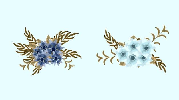 Kolekcja botaniczna dzikich kompozycji kwiatowych ustawia kwiaty ogrodowe