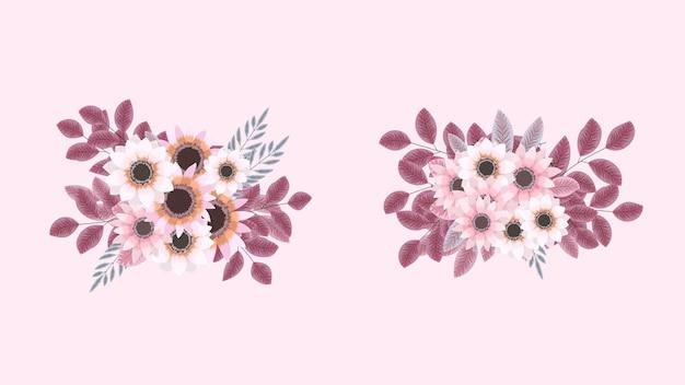 Kolekcja botaniczna dzikich różowych kompozycji kwiatowych z kwiatami ogrodowymi