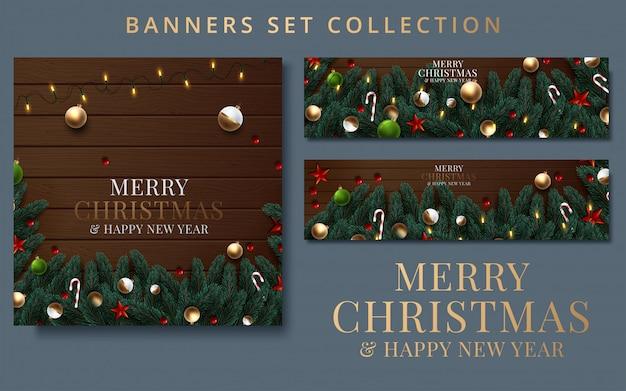 Kolekcja boże narodzenie i nowy rok z obramowaniem lub girlandą z gałęzi choinek