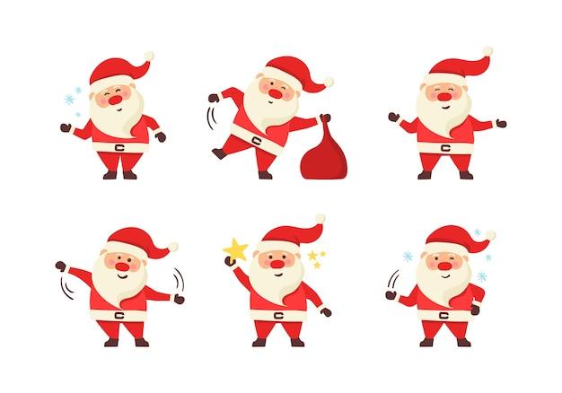 Kolekcja boże narodzenie santa claus. zestaw zabawnych postaci z kreskówek z różnymi emocjami i elementami noworocznymi. komplet kreskówka boże narodzenie s na białym tle.