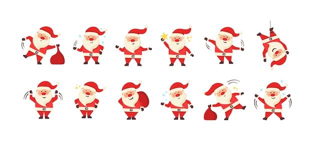 Kolekcja boże narodzenie santa claus. zestaw zabawnych postaci z kreskówek z różnymi emocjami i elementami noworocznymi. zestaw ilustracji boże narodzenie kreskówka na białym tle.