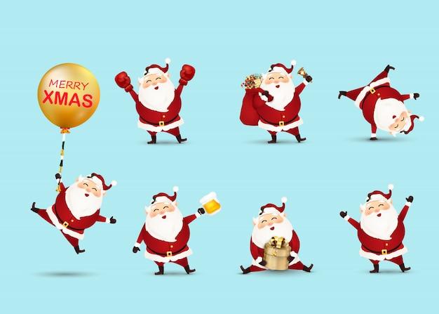 Kolekcja bożych narodzeń święty mikołaj odizolowywał. zestaw zabawnych postaci z kreskówek z różnych emocji. świąteczny charakter kartek świątecznych.