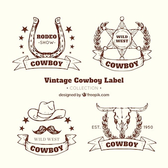 Kolekcja brązowy kowboj etykiety