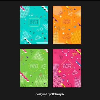 Kolekcja broszur w stylu memphis